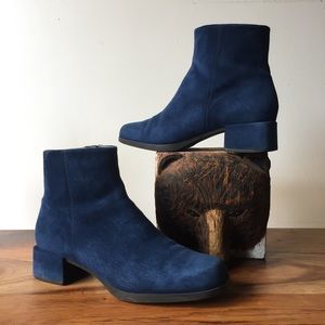 CAMPER Ankle Bootie Square Toe Blue Suede Heels